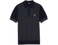Fred perry polo jacquard panel knitted